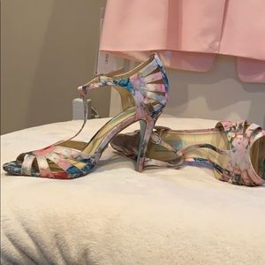 Betsey Johnson floral strap heels